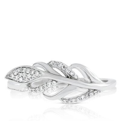 Diamond Feather Leaf Ring 14K