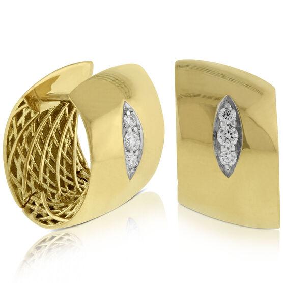 Roberto Coin Golden Gate Huggie Diamond Earrings 18K