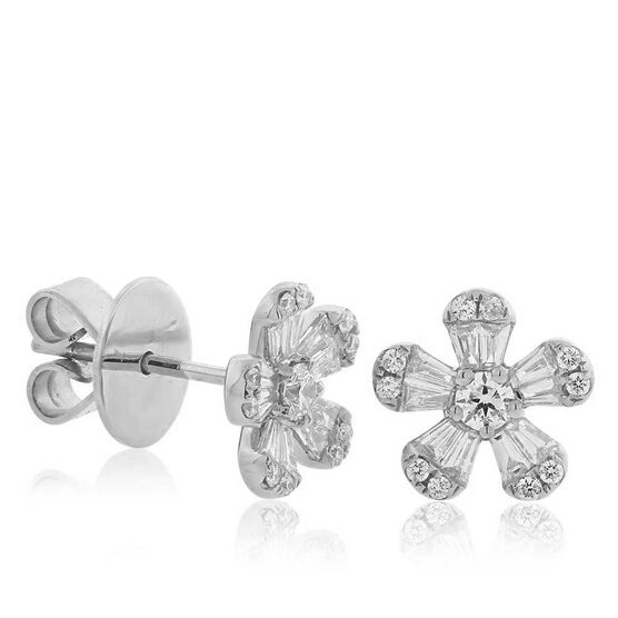 Five Petal Diamond Flower Earrings 14K