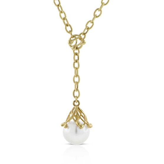 Cultured Freshwater Pearl Drop Pendant 14K