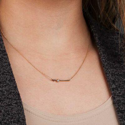 Sideways Bar Diamond Necklace 14K