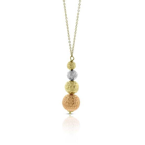 Rose, White & Yellow Gold Sphere Pendant 14K