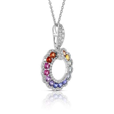 Rainbow Sapphire & Diamond Circle Necklace 14K
