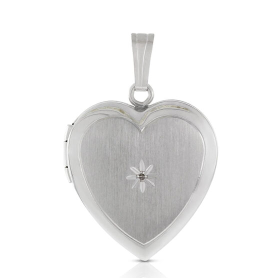 Diamond Heart Locket in Sterling Silver