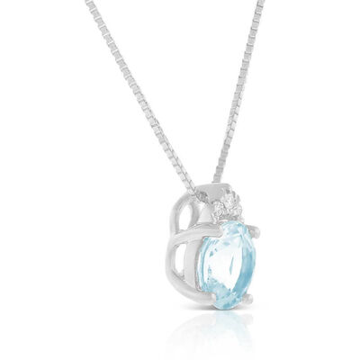 Aquamarine & Diamond Necklace 14K