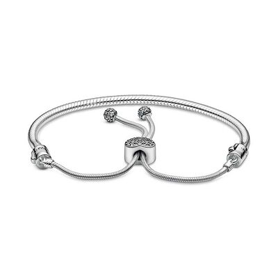 Pandora Moments Pavé CZ Heart Clasp Snake Chain Slider Bracelet