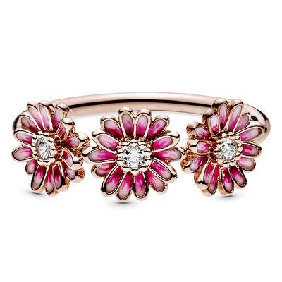 Pandora Pink Daisy Flower Trio Enamel & CZ Ring