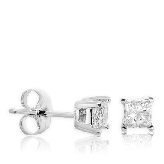 Princess Cut Diamond Earrings 14K, 3/4 ctw.