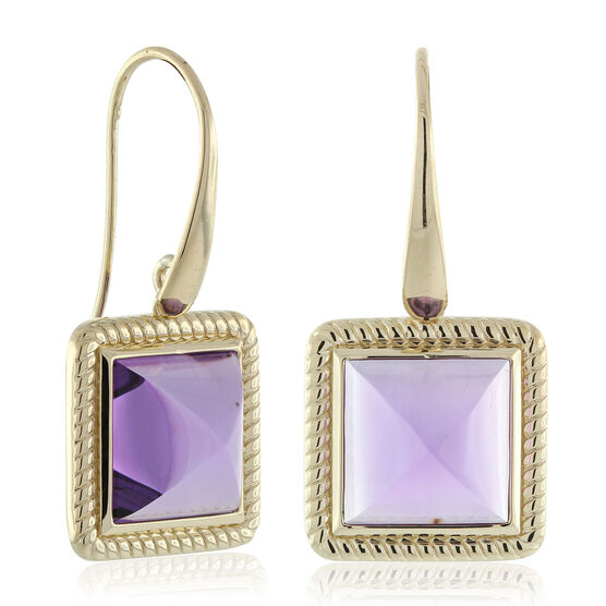 Amethyst Pyramid Rope Bezel Set Earrings 14K