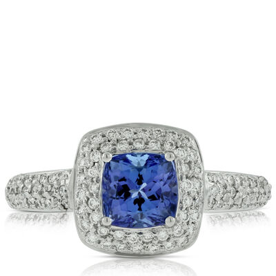 Tanzanite & Diamond Halo Ring 14K