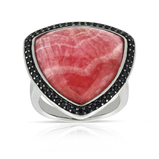 Lisa Bridge Rhodochrosite & Black Sapphire Ring