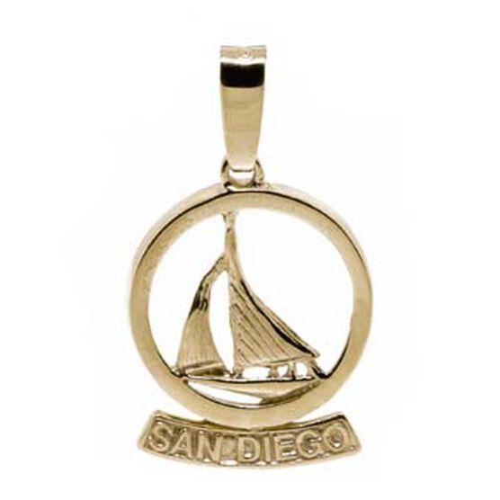 San Diego Sailboat Charm / Pendant 14K
