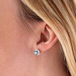 Blue Zircon & Diamond Halo Earrings 14K