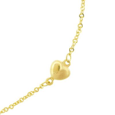 Puffed Heart Station Bracelet 14K