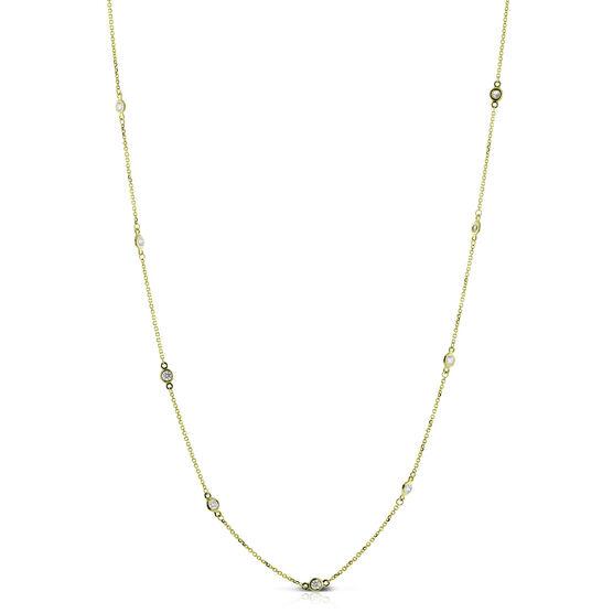 Bezel Set 12-Station Diamond Necklace 14K