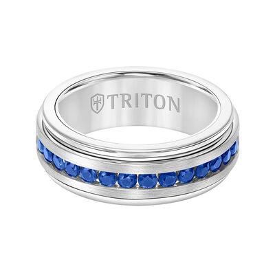 TRITON Stone Comfort Fit Sapphire Band in White Tungsten, 8 mm