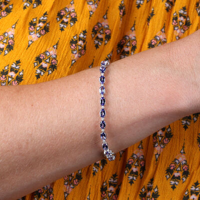 Tanzanite & Diamond Tennis Bracelet 14K
