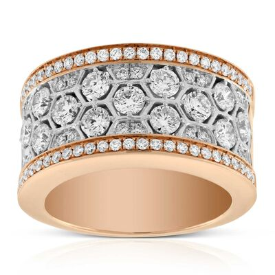 Rose Gold Wide Honeycomb Diamond Ring 14K