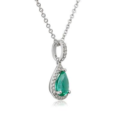 Pear Emerald & Diamond Halo Drop Necklace 14K