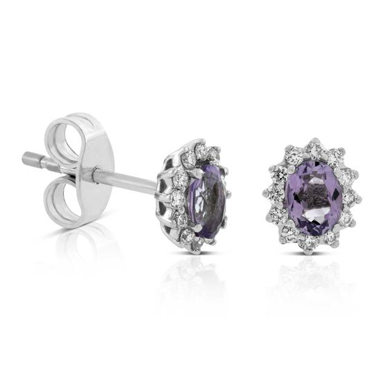 Amethyst & Diamond Halo Stud Earrings 14K