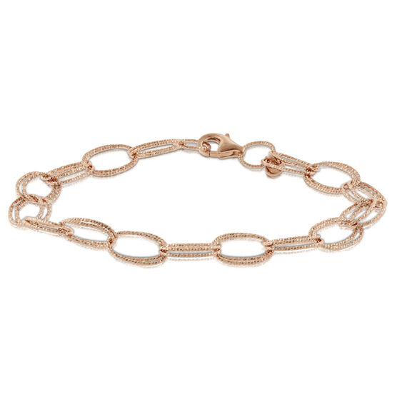 Rose Gold Toscano Double Link Bracelet 14K