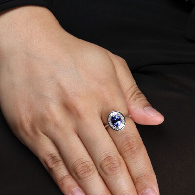 Tanzanite & Baguette Diamond Halo Ring 14K