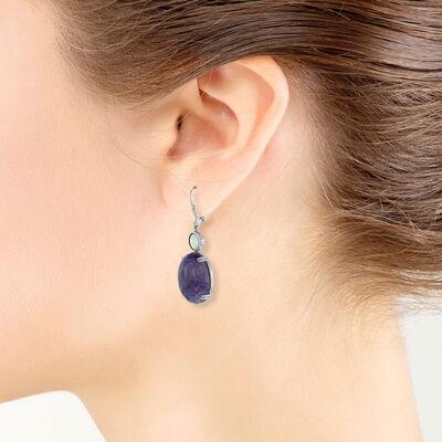 Lisa Bridge Charoite & Mother of Pearl Earrings