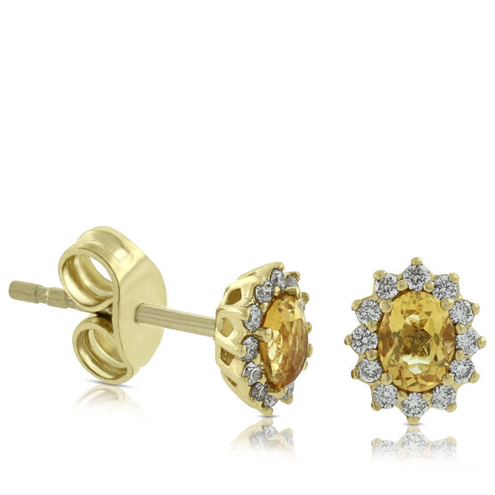 Citrine & Diamond Earrings 14K