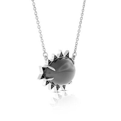 Lisa Bridge Grey Moonstone & Black Sapphire Necklace