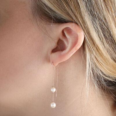 Rose Gold Freshwater Cultured Pearl Threader Earrings 14K
