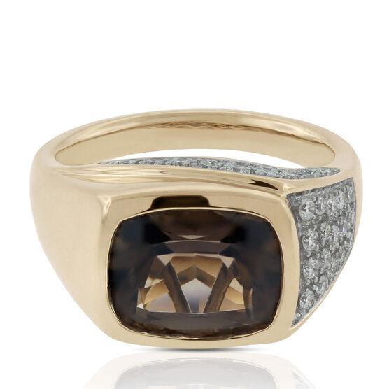 Cushion Smoky Quartz & Diamond Ring 14K