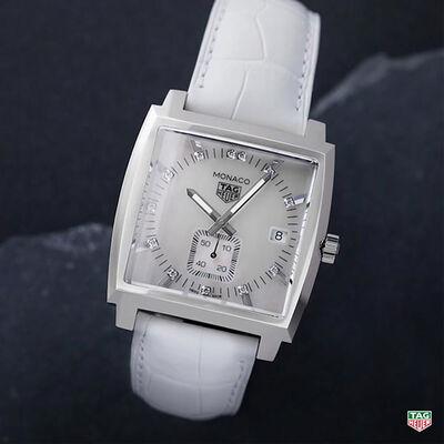 TAG Heuer Monaco Quartz Ladies White Leather Watch