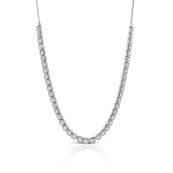 Diamond Milgrain Square Link Necklace 14K, 3.70 ctw.