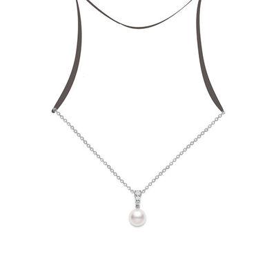 Mikimoto Morning Dew Cultured Akoya Pearl & Diamond Necklace 18K