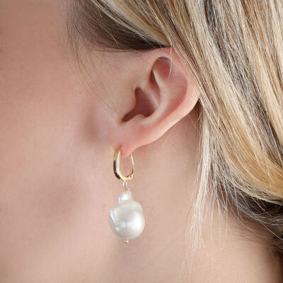 Cultured Baroque Freshwater Pearl Drop Earrings 14K