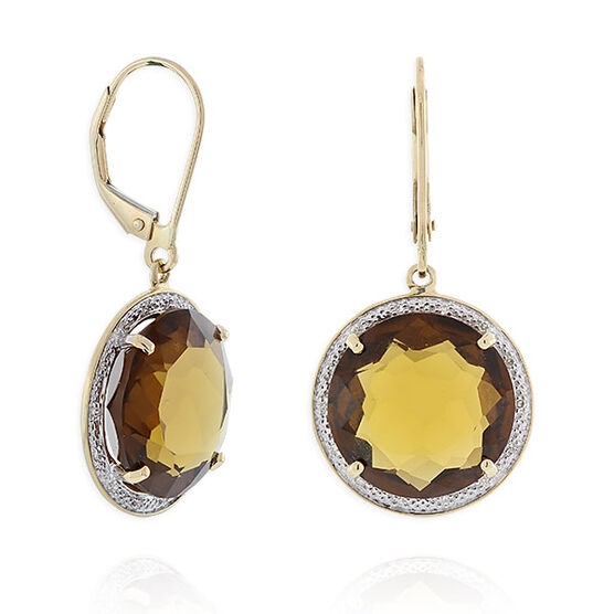 Brown Quartz & Diamond Dangle Earrings 14K