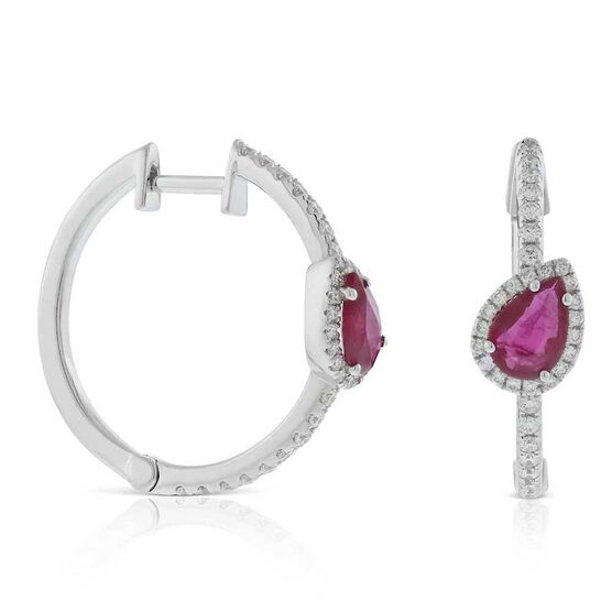 Slanted Pear-Shaped Ruby & Diamond Hoop Earrings 14K
