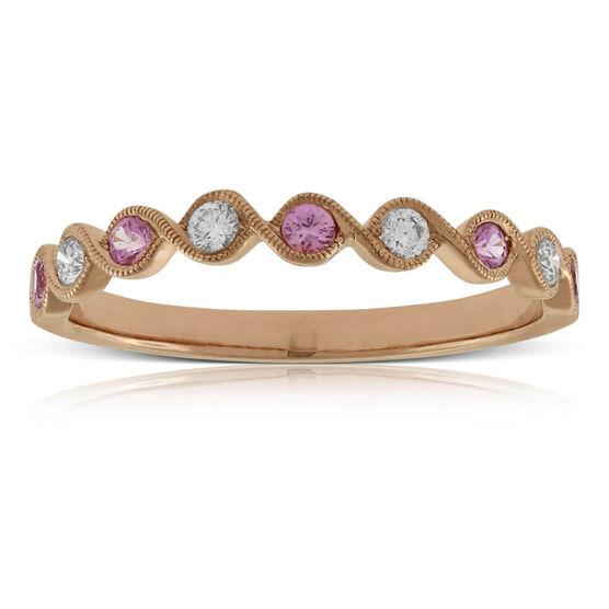 Rose Gold Pink Sapphire & Diamond Ring 14K