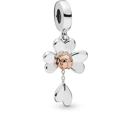 Pandora Clover & Ladybird Dangle Charm in Silver & Pandora Rose™
