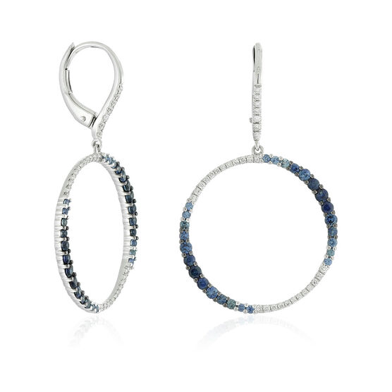 Sapphire & Diamond Circle Earrings 14K