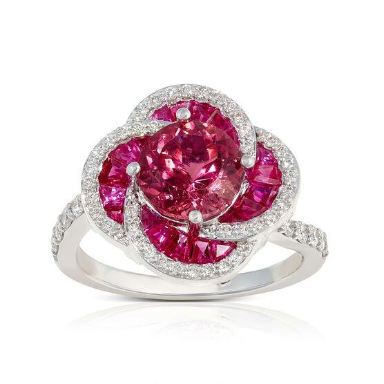Pink Tourmaline, Baguette Ruby & Diamond Flower Ring 14K
