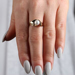 Cultured Pearl & Diamond Ring 14K