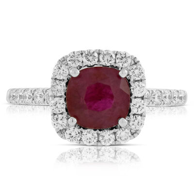 Cushion Cut Ruby & Diamond Ring 14K