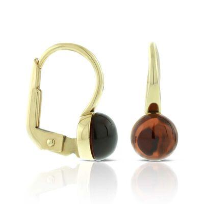 Cabochon Garnet Earrings 14K