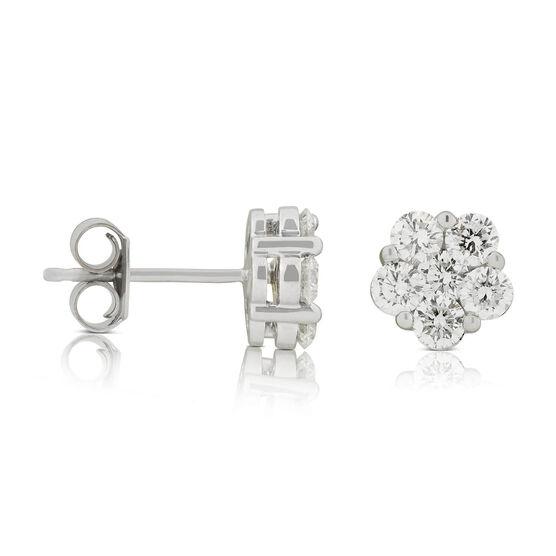 Floral Diamond Cluster Stud Earrings 14K