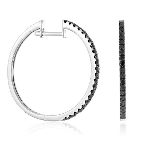 Black Diamond Hoop Earrings 14K