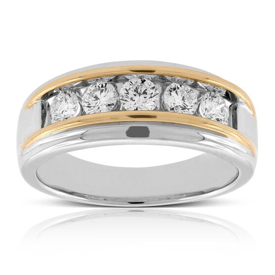 Men's Two-Tone Diamond Band 14K