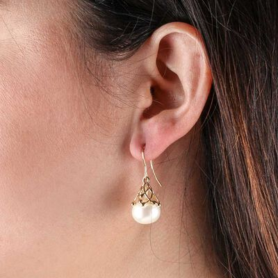 Cultured Freshwater Pearl Earrings 14K