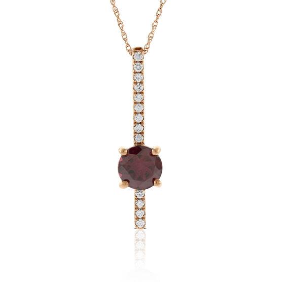 Rose Gold Rhodolite & Diamond Stick Pendant 14K
