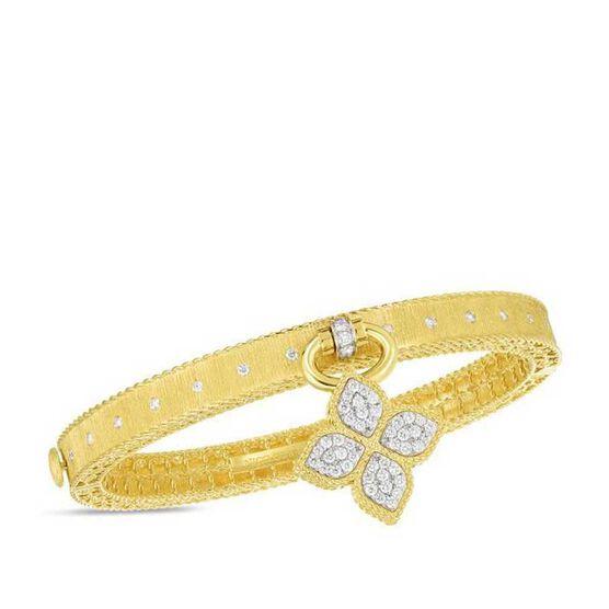 Roberto Coin Venetian Princess Dangling Flower Diamond Bangle 18K